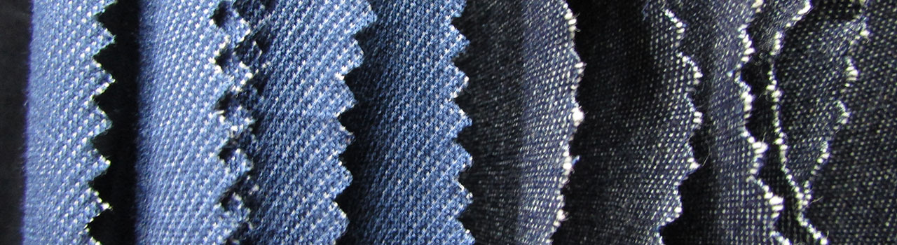 A range of denim samples from fabric traders