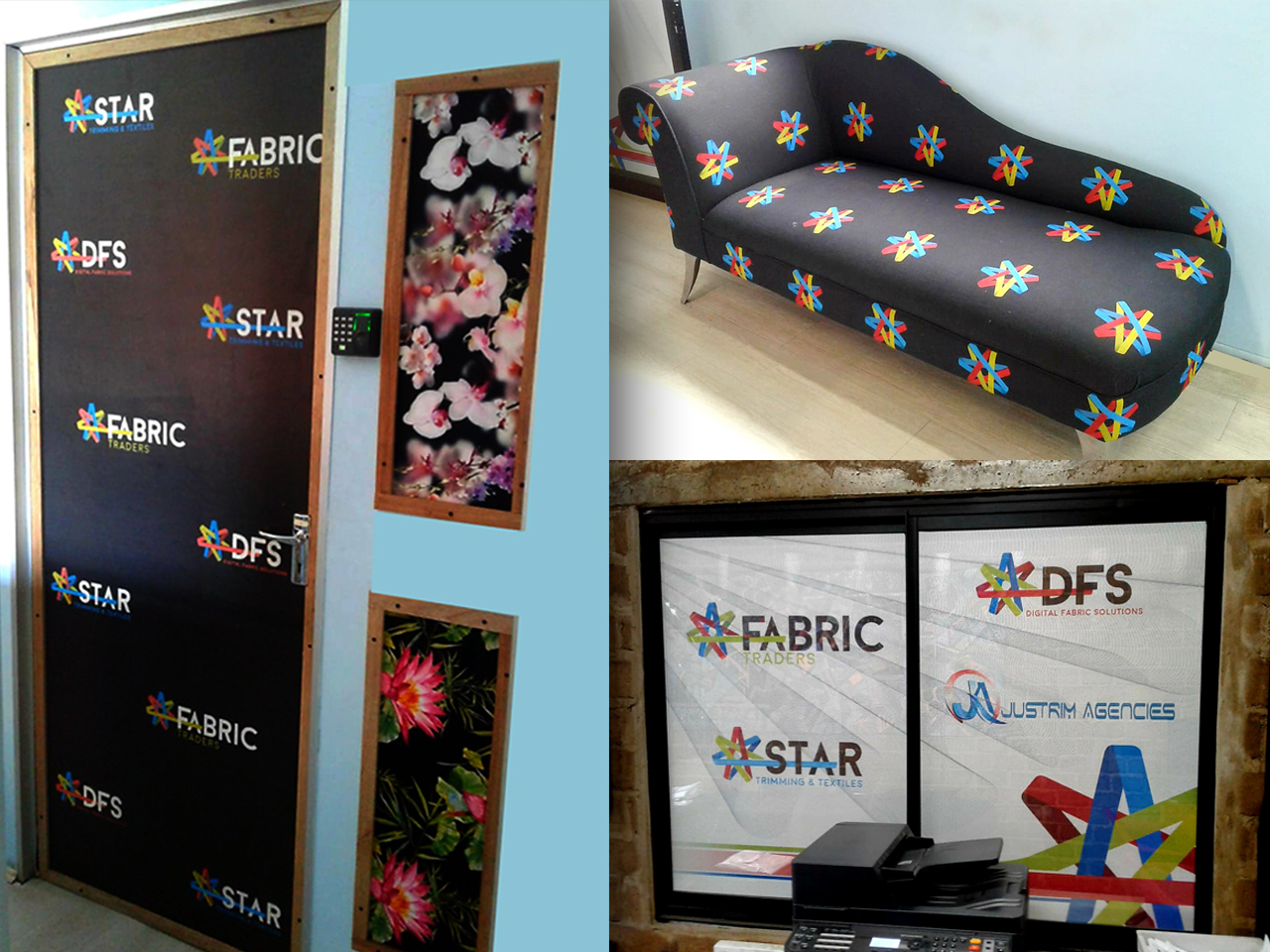 An innovative way to combine brand awareness with a creative office environment is to print your company logo on an existing couch and compliment it with branding on glass doors and windows