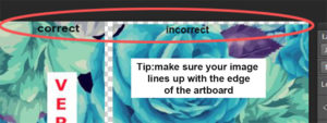 Tip: Ensure your image lines up with the edge of the art board