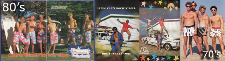 Marketing images of board shorts in the 80s projected confidence, colour and fun.