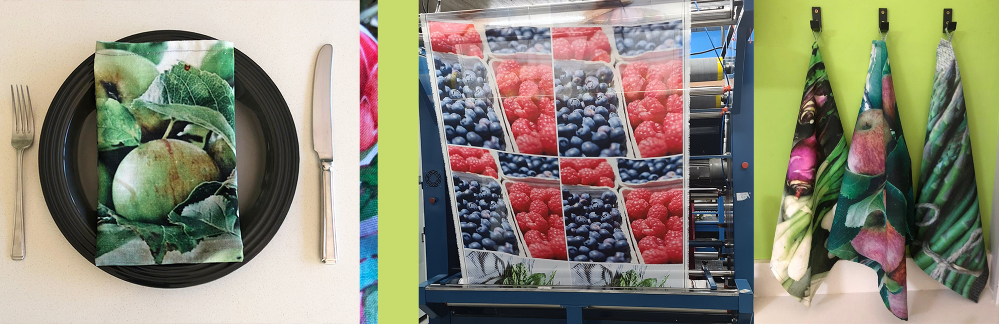 Digital textile printing for home decor projects such as tea towels